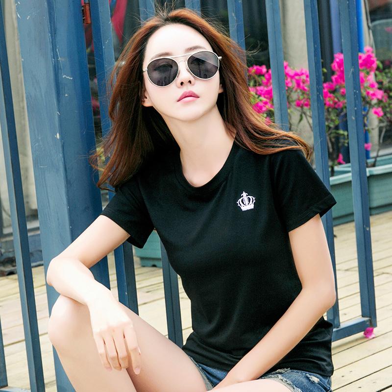 韩版新款女装休闲棉质短袖T恤女上衣潮夏季简约百搭打底体恤衫