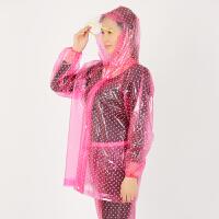 塑料透明分体雨衣雨裤套装大帽檐电动摩托车骑行男女带书包套 粉红色 衣裤155-172cm高