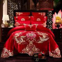 新婚庆四件套大红色床品结婚礼家纺六八件套刺绣床上用品套件