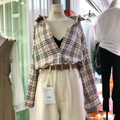 韩国ulzzang2018春装新款学院风休闲宽松长袖格子衬衫学生衬衣女 发货周期:一般在付款后2-90天左右发货,具体发货时间请以与客服协商的时间为准