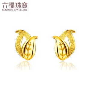 六福珠宝叶子磨砂工艺黄金耳钉女足金耳钉耳环耳饰GMG50025