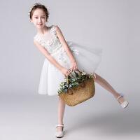 女童公主裙夏钢琴演出服花童蓬蓬裙婚纱白色儿童走秀小主持人礼服
