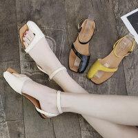 韩版学生百搭女士凉鞋 新款平底套趾凉鞋女 复古罗马鞋潮chin拼接漏趾凉鞋