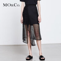 MOCO夏季新品不规则透视网眼半身裙两件套MA182SKT205 摩安珂