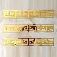{夏季贱卖}中式天花板吊顶背景墙亚克力墙贴自粘3d立体镜面长条装饰镂空腰线 LTX-006(长50*宽10厘米)金色5