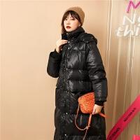 七格格亮面羽绒服女中长款过膝2019新款冬季韩版宽松时尚派克服潮