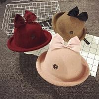 儿童帽子女秋冬蝴蝶结渔夫帽礼帽羊毛圆帽公主保暖时尚宝宝帽子潮