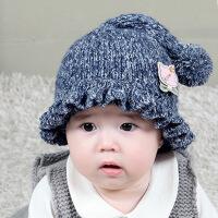 缕巷 婴儿童帽套头帽宝宝棉线帽子男女长尾巴花边毛线儿童冬帽