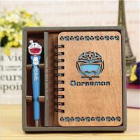 木质笔记本子 机器猫叮当猫日记本记事本生日礼物办公文具套装