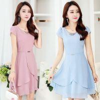 夏季连衣裙18新款版修身时尚中长款夏天短袖雪纺裙子女夏