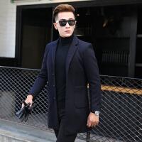 新款毛呢大衣男中长款韩版修身呢子中年商务休闲加厚外套冬季