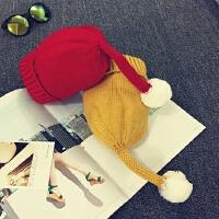 儿童毛线帽秋冬宝宝帽子保暖护耳帽卡通大毛球套头帽男女童针织帽