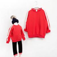 一家三口冬季韩国童装男女童加绒卫衣两件套韩版亲子装卫衣家庭装