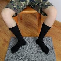 日系男士商务纯棉中长筒袜子皮鞋绅士高筒袜正装黑袜 黑色 5双 均码
