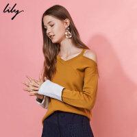 Lily2018冬新款女装OL露肩不对称针织衫撞色针织衫117429B8908