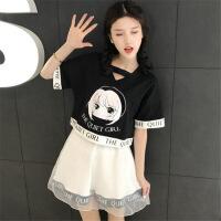 2018夏季女装日系软妹宽松卡通印花短袖T恤+高腰半身裙A字裙套装 图片色