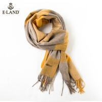 【折扣价:398元】ELAND新款100%羊毛英伦格纹流苏围巾纯羊毛披肩EEAM9FT02B