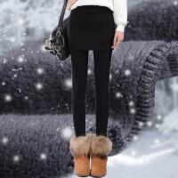 2017秋冬季女外穿打底裙裤加绒加厚包臀裙假两件高腰显瘦保暖长裤