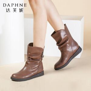 Daphne/达芙妮女鞋秋冬季加绒女靴时尚平底圆头靴子保暖棉鞋皮中筒靴短靴