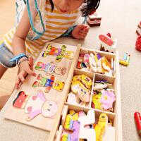 立体小熊换衣服木制拼图益智穿衣积木男女孩儿童蒙氏早教智力玩具
