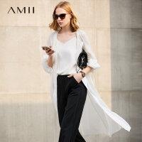 Amii极简外搭开衫白色薄外套女中长款2018春装新款宽松棉麻大衣