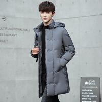 羽绒服男冬装青年韩版中长款加厚羽绒衣男款学生连帽男装冬季外套