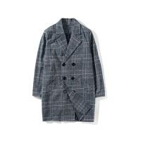 情侣装秋冬装新款韩范宽松翻领中长款呢大衣男女呢料格子外套 灰色 M