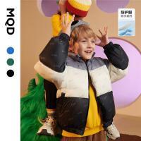 【2件3.5折后价:385】MQD童装男童羽绒服21冬新款儿童满版拼接撞色轻柔三防保暖面包服