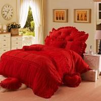 家�床上四件套冬水晶短毛�q加厚被套蕾�z公主�L床裙珊瑚�q4件套1.8m