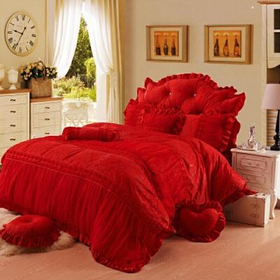 家纺床上四件套冬水晶短毛绒加厚被套蕾丝公主风床裙珊瑚绒4件套1.8m