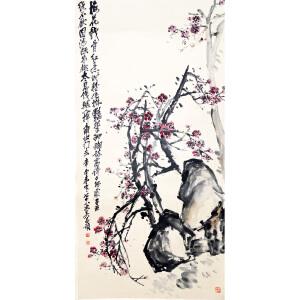 S吴昌硕(款) 梅石图 136*68  附出版物