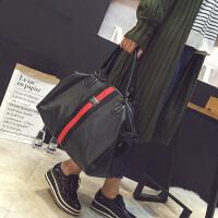 短途旅行包旅行袋斜跨女防水大容量手提包行李袋轻便潮男健身包 绿色 彩带绿色