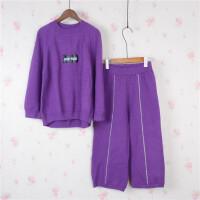 P5韩版宽松毛衣套装女时尚 两件套加厚七分裤冬学生套头针织衫0.8