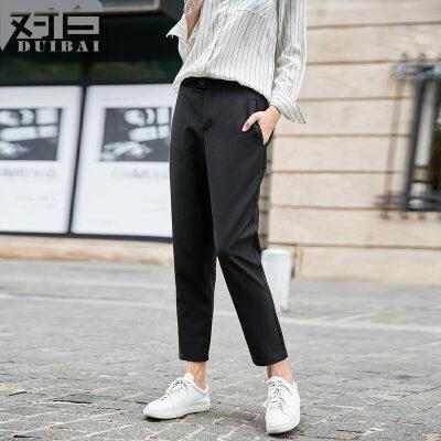 对白2017冬装新款 个性黑色九分休闲裤女 时尚通勤简约直筒裤子