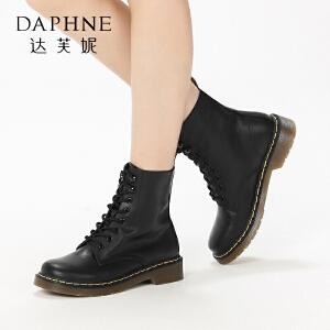 达芙妮集团鞋柜冬季系带低跟马丁靴女休闲圆头粗跟学院风短筒...-1