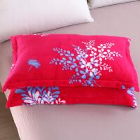 枕头套珊瑚绒 一对装枕芯套法莱绒枕皮单人加绒枕芯罩法兰绒枕套J 玫红色 水红小叶一对 48cmX74cm