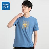 真维斯男装 2021春季新款 全棉平纹布圆领印花短袖T恤