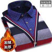 冬季假两件男士加绒加厚衬衫男保暖衬衣长袖外套衬衫