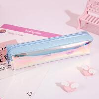 透明铅笔袋女韩国新简约小清新创意可爱初中生韩版镭射文具盒用品