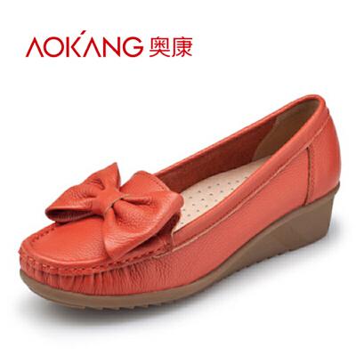 奥康女鞋休闲单鞋坡跟蝴蝶结真皮休闲舒适妈妈鞋 断码清仓特惠
