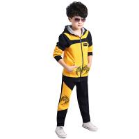 运动套装秋冬新款韩版儿童长袖卫衣运动休闲加绒加厚连帽两件套男童套装
