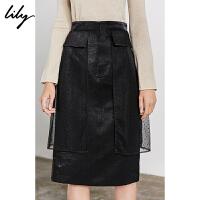 【不打烊价:245元】 Lily2019冬新款女装优雅波点网纱黑色修身铅笔裙半身裙6918