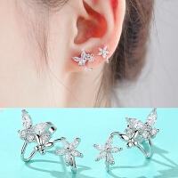 s925银针耳钉耳夹无耳洞女耳饰品简约气质耳环甜美百搭