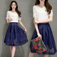 圆领短袖蕾丝雪纺衫纯色网纱透明半身裙两件套年夏季 图片色