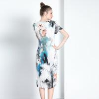 欧洲站女装春夏新款子依时尚短袖圆领印花修身弹力百褶连 图片色 均码