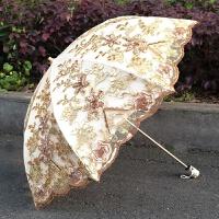 太阳伞防晒防紫外线蕾丝公主洋伞刺绣黑胶遮阳伞女神晴雨两用 新款