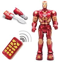 大型充电智能遥控机器人玩具钢铁侠模型唱歌跳舞男孩玩具 红色 钢铁侠机器人 充电版(配送充电套装)
