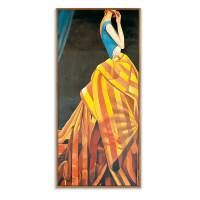 {夏季贱卖}优雅女子 后现代玄关装饰画过道服装店衣帽间油画北欧风格装饰画 A-7318 70*145 尊贵黑色 油画布