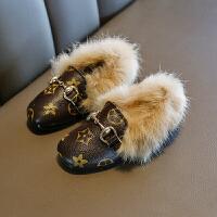 冬季�和�小皮鞋女童豆豆鞋潮棉鞋加�q公主瓢鞋毛毛鞋