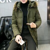 潮牌冬季加厚男式时尚休闲棉衣外套韩版连帽修身中长款羽绒服潮 军绿色 M